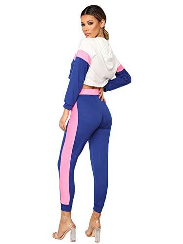 Minetom Mujer Chandal Ropa Deportiva Suave Cómodo Pantalones Manga Larga Sudaderas con Capucha Crop Top 2 Piezas Deportiva Trajes Yoga Fitness Rosa ES 40