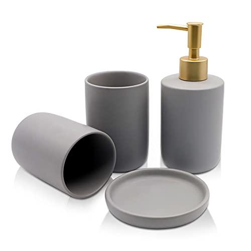 AOMIAO Set Bagno con Accessori Completo, con Dispenser per Sapone, Tazza per Collutorio, Portasapone,di Accessori per Il Bagno in Ceramica