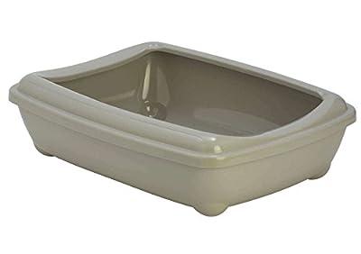 Grey Jumbo Cat Litter Tray With Rim 57x43x16cm Scoop Kitten Litter Box Toilet Large Loo