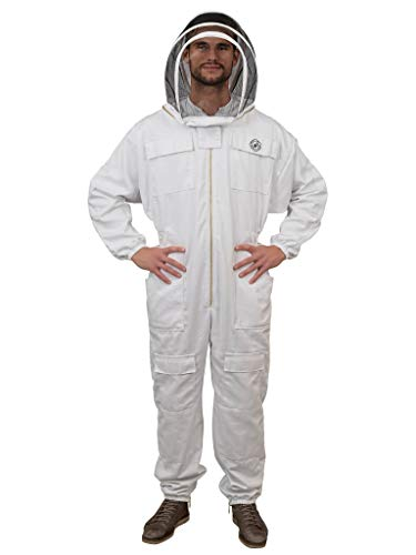 Humble bee 411 Polycotton Fencing Veil Beekeeping Suit, Arctic White