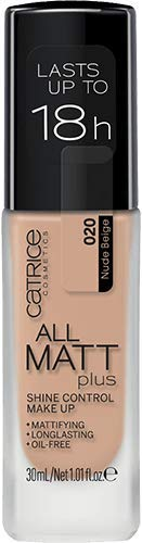 Catrice All Matt Plus Shine Control Make Up, Foundation, Nr. 020 Nude Beige, nude, für Mischhaut, für unreine Haut, langanhaltend, mattierend, matt, vegan, ölfrei, ohne Alkohol, 3er Pack (3 x 30ml)