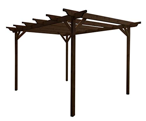Sculpted Wooden Garden Pergola Kit - Exclusive Pergola Range - Largest on Amazon - Light Green or Rustic Brown Finish (3m x 3m 4 posts, Rustic Brown)