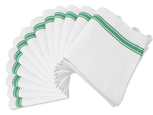 Aunti Em's Kitchen Dish Towels Set (13 Pack) Natural Cotton Fabric for Embroidery - Zero-Lint Cloth for Drying Glasses, Plates, Hand - 25.5 x 15.5 Inch - White with Green Colored Stripes