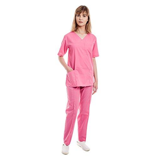 Rosa Kasacks Damen Pflege - 7 Berufsbekleidung Pflegegrößen (XS-3XL), Perfekt Als Krankenschwester Berufskleidung Kittel, Medizin Kleidung, Altenpflege Uniform, Krankenhaus Schlupfjacke, Kassak