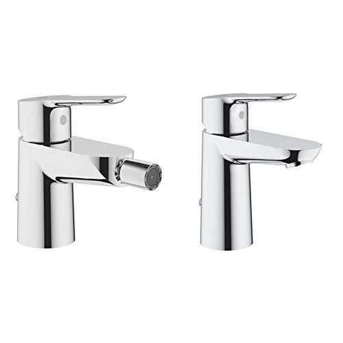 Grohe 23332000 23332000-Bau Edge Grifo de bidé con cadenilla + BauEdge Grifo de lavabo monomando para instalación en un solo agujero, altura estándar, con sistema de ahorro de agua