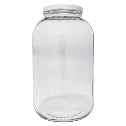 Viva Haushaltswaren XXL Einmachglas 4250ml, Glasdose, Vorratsglas mit weißem Schraubverschluss und Beschriftungsetikett Vorratsdose, Glas, transparent, 15.9 x 15.9 x 27 cm