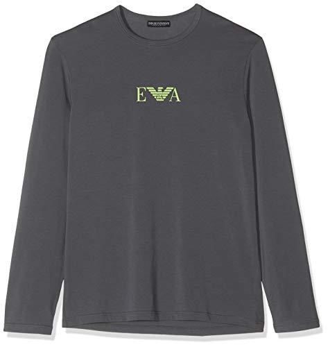 Emporio Armani Underwear Herren T Shirt Multipack Monogram Freizeithemd, Grau (Antracite 00044), Large (Herstellergröße:L)