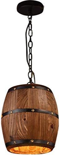 Iluminación creativa del restaurante del barril de madera retro americano, lámpara decorativa del barril de vino del registro, araña del restaurante del bar del café del estilo industrial