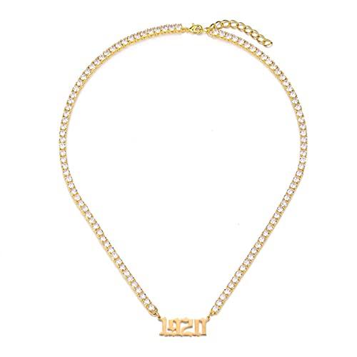 JIAQINGRNM Collar de cadena de tenis europea y americana especial aniversario letra nombre clavícula cadena ornamento San Valentín cumpleaños