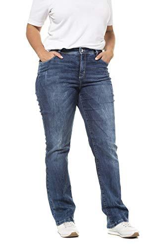 Ulla Popken Damen Glitzernieten K-Länge, Mandy Straight Jeans, Blau (Bleached 92), 52 (Herstellergröße: 26)