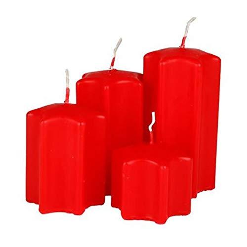 Malmö Adventskerzen-Set Forma Estrella Velas de la Navidad Decoración Navidad Sternkerzen Glitter - Rojo