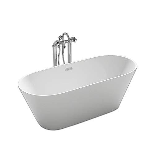 Home Deluxe - freistehende Badewanne - Design Badewanne freistehend Rondo weiß - Maße: ca. 170 x 80 x 58 cm - Füllmenge: 204 Liter - Inkl. komplettem Zubehör