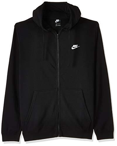 Nike Herren Hoodie M NSW CLUB FZ FT, Schwarz (Schwarz/Weiß), L