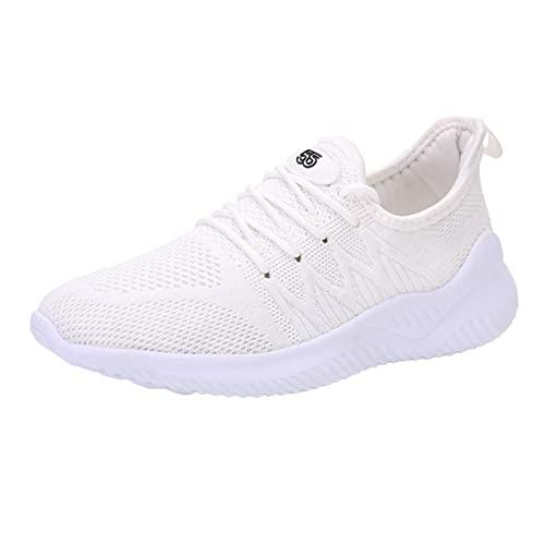 QIUTIANQ Zapatos De Mujer Zapatillas Deportivas para Correr Al Aire Libre Calzado Planos Casuales De Moda Zapatos De Malla con Cordones Y Puntera Redonda Antideslizante Mojadura (Blanco, 40)