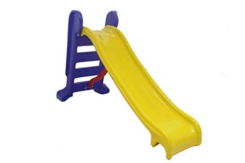 Escorregador Infantil Plástico - Médio 3 Degraus Amarelo c/ Azul