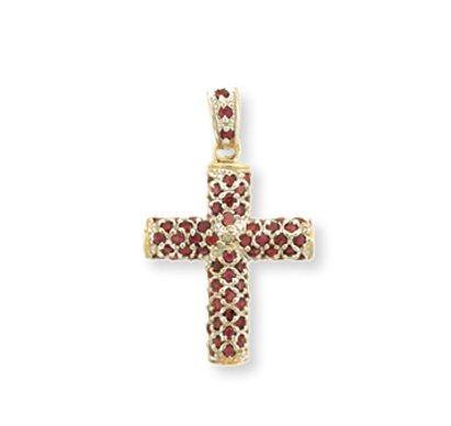 14 quilates 585/1000 Oro Amarillo Rubí Cruz Colgante collar (Libro Con Cadena 45cm)