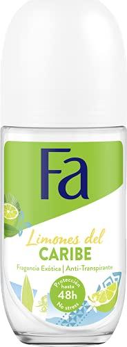 Fa - Desodorante Roll-On Limones del Caribe - 50ml - Anti Transpirable y fiable contra el olor corporal