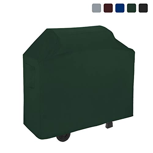 BBQ Grill Cover 18 Oz Waterproof - 100% UV & Weather Resistant Grill Cover, Fits Grill of Weber Brinkman Charbroil and More - with Air Pockets & Drawstring for Snug Fit (64 inch, Green)