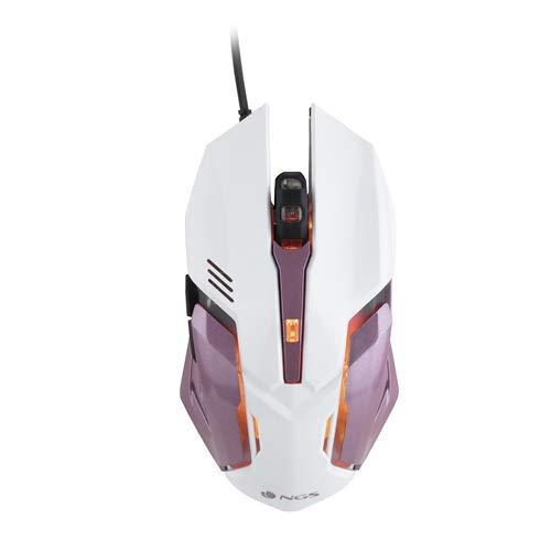 NGS GMX-100 - Ratón con Cable de Gaming (2400 dpi, Conector USB), 7 Colores Led para Juegos de Ordenador. Color Blanco y Rosa