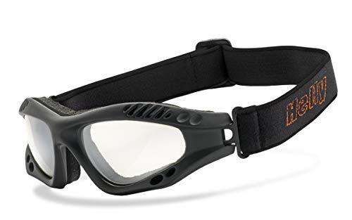 Helly® - No.1 Bikereyes® | beschlagfrei, winddicht, HLT® Kunststoff-Sicherheitsglas nach DIN EN 166 | Motorradbrille | Brillengestell: schwarz matt, Brille: hellrider - klar