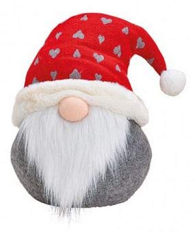TEMPELWELT Deko Figur Türstopper Wichtel Zwerg Knollnase 25 cm groß aus Textil Wolle Kunstfell grau rot weiß, Weihnachtswichtel Dekofigur Winter