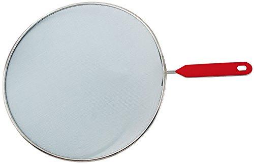Fackelmann Spritzschutz, Spritzschutzdeckel für Pfannen bis Ø 28 cm, Spritzschutzsieb für das Braten ohne Fettspritzer (Farbe: Silber/Rot), Menge: 1 Stück