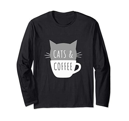 Cats and Coffee - Gatito en una taza divertidos bigotes Manga Larga