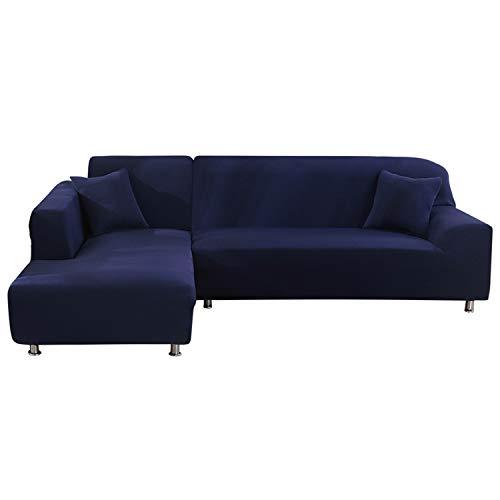 NIBESSER Sofabezug Sofaüberwürfe für L-Form Sofa elastische Stretch Sofabezug Sofa Überzug (2 Sitzer+3 Sitzer, Schwarzblau)