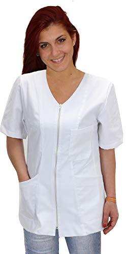 Casacca, Camici da Lavoro Donna con Zip,Bianco,Cotone, Estetista,parrucchiera, MAESTRA Asilo,Alimentari (XL, Bianco)