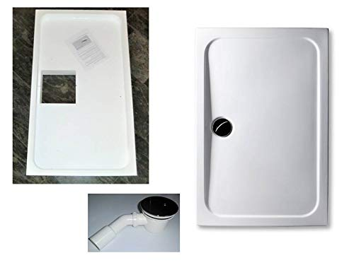 KOMPLETT-PAKET: Duschwanne 120 x 75 cm superflach 3,5 cm weiß Acryl + Styroporträger/Wannenträger + Ablaufgarnitur chrom DN 90