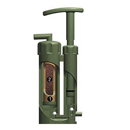 Extérieure Randonnée Camping Portable Soldat Filtre à Eau Purificateur Nettoyant Survie Urgence Outil de Purificateur d'eau, Vert Militaire