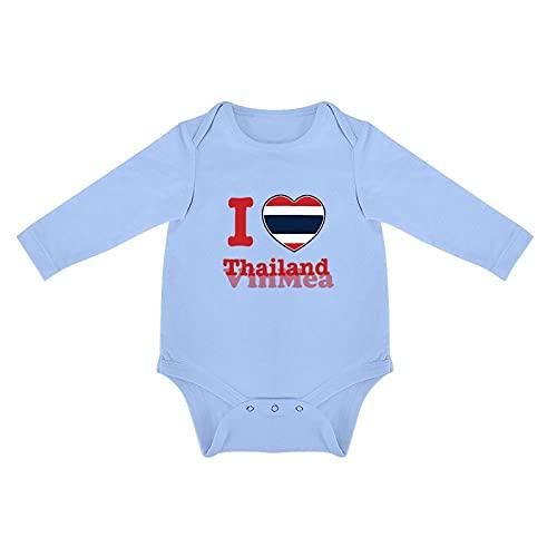 """Mono lindo de manga larga con diseño de texto """"I Love Thailand Baby Onesie,Body infantil para niña, Qlcyntxqfg7d, 1 mes"""