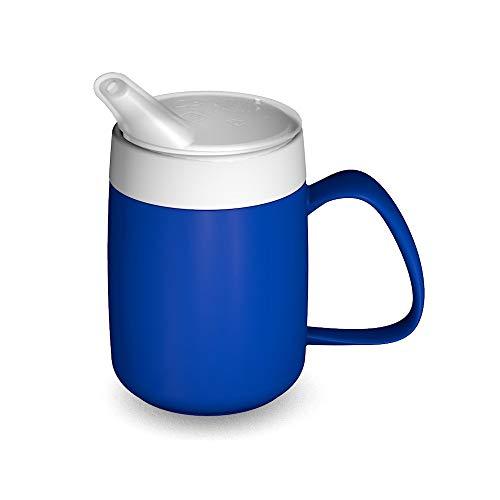 Ornamin Becher mit Trink-Trick, Thermofunktion und Schnabelaufsatz 140 ml blau (Modell 207 + 806) / Thermobecher, Spezial-Trinkhilfe, Schnabelbecher