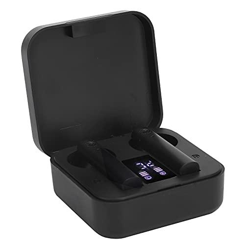 ASHATA Drahtlose Ohrhörer, Bluetooth 5.0-Kopfhörer mit Rauschunterdrückung, wasserdichte Kabellose Kopfhörer mit LED-Ladebox, Touch-Steuerung für Laufen/Fitness(Schwarz)