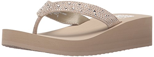 Yellow Box womens Africa Wedge Flip Flop, Taupe, 7.5 US