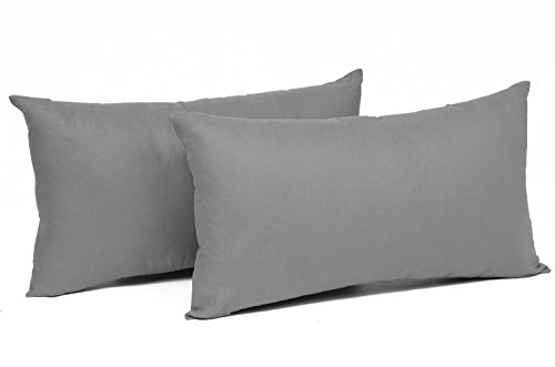 WOLTU® KB5148dgQ2, 2X Kissenbezug Kissenhülle 100% Baumwolle mit Reissverschluss, 2er Set Sofakissen Dekokissen Kissen Bezug, Kopfkissen Hülle Bezüge Doppelpack, 30x50 cm, Grau