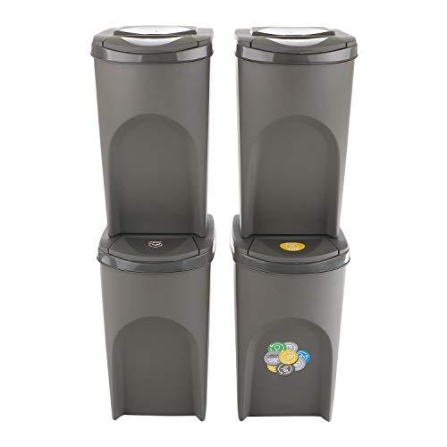 Prosperplast Sortibox Mülleimer Mülltrennsystem Abfalleimer Behälter (4x35L, Grau)