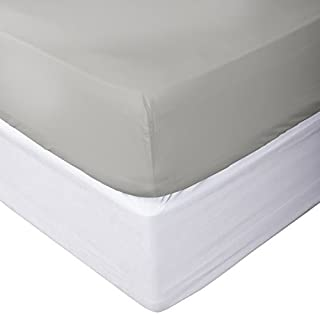 Calico Homes 100% Egyptian Cotton Fitted Sheet 800 Thread Count Solid 1 Piece (Bottom Sheet Only) Olympic Queen Size Sateen Weave 12 inch Deep Pocket Light Grey Color