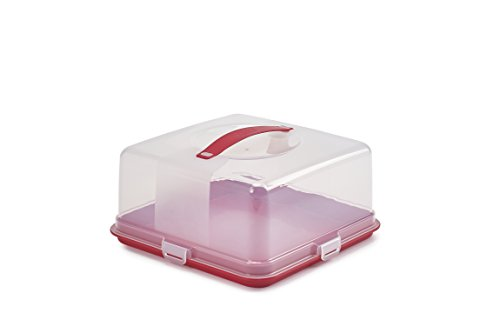 Whitefurze, Contenitore Porta Torte Quadrato, Colore Rosso e Trasparente