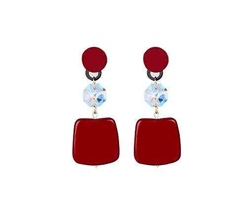 Kronleuchter Pendientes Largos Mujer 925 Plata Aguja Temperamento Personalidad Pendientes Chica Corazón Decoración Pendientes de Cara Multicolor Opcional (Color : Red)