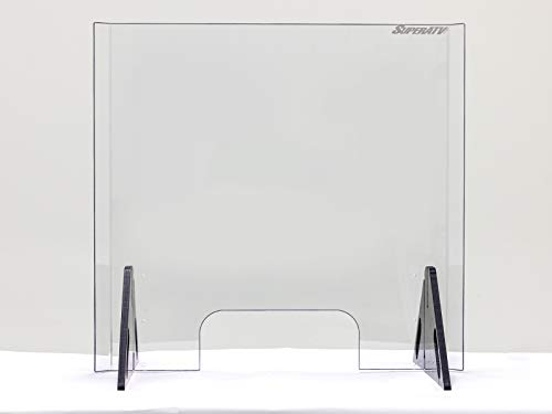"""Sneeze Guard Shield for Counter – 26"""" Tall x 27.6"""" Wide   Scratch Resistant ¼"""" Thick Polycarbonate - 25X stronger than Acrylic Plexiglass!   Adjustable Pass-Through Transaction Window   USA Made"""