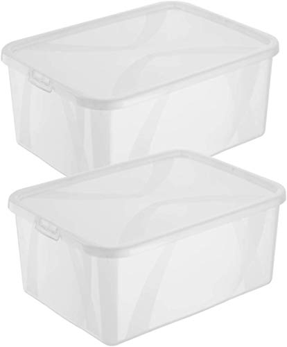 Rotho Arco 2er-Set Aufbewahrungsbox 10l mit Deckel, Kunststoff (PP) BPA-frei, transparent, 2 x 10l (36,0 x 27,0 x 13,4 cm)