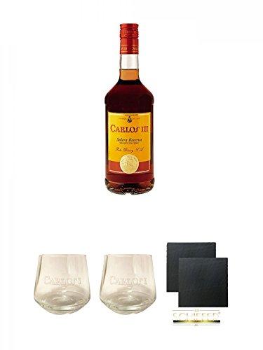 Carlos III Spanien 0,7 Liter + Carlos I Glas + Carlos I Glas + Schiefer Glasuntersetzer eckig ca. 9,5 cm Ø 2 Stück