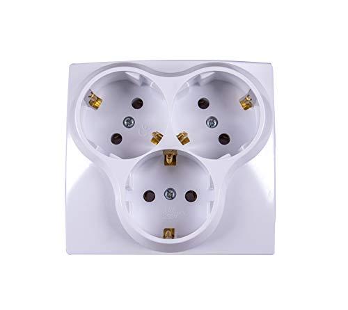 Geaard stopcontact 3-voudig inbouw wit Schuko-stopcontacten