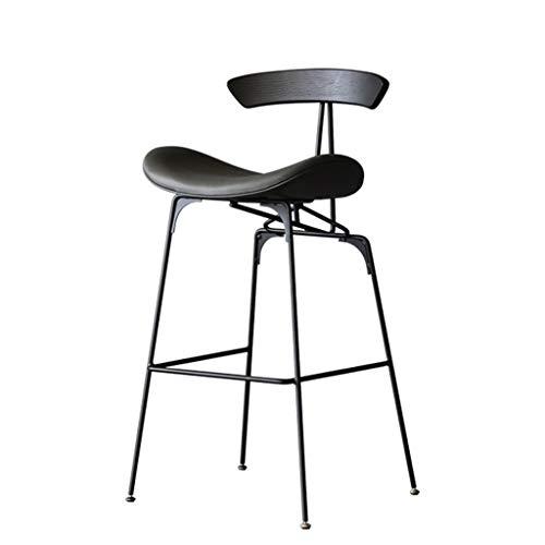 BAR STOOL WGZ - Silla de barra de hierro moderna y minimalista, alta silla para el hogar (color: gris PU, tamaño: 75 cm)