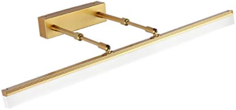 Spiegelleuchte Spiegel Frontleuchte LED Spiegel Kabinett Licht Badezimmer Wasserdichte Schlafzimmer Wohnzimmer Wandleuchte Gold LED Spiegellicht (Farbe   Drei-Farben-Licht-40 cm)