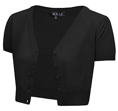 YEMAK Women's Cropped Bolero Short Sleeve Button Down Cardigan Sweater HB2137-BLK-2X Black by YEMAK