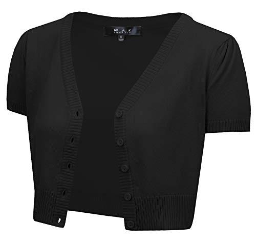 YEMAK Women's Cropped Bolero Short Sleeve Button Down Cardigan Sweater HB2137-BLK-M Black