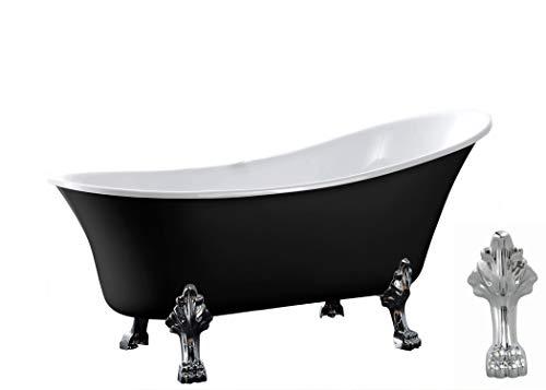 Freistehende Badewanne PARIS Acryl Schwarz glänzend - 176 x 71 cm - Metallfüße & Standarmatur wählbar, Standarmatur:Ohne Standarmatur, Farbe der Füße:chrom