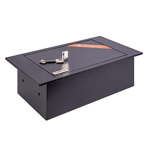 Brihard Tresor mit Schlüsselschloss im Boden - Einbautresor flach 39x21x13 cm 6,7 L - Unsichtbarer Tresor zur sicheren Aufbewahrung - Tresor Haussafe